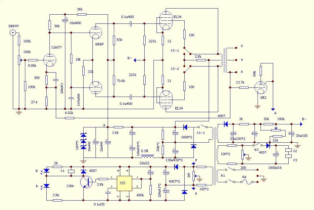 Усилитель ламповый XD500 схема