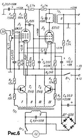 Две лампы невысокой мощности позволяют получить на выходе усилителя 1 Вт, что при достаточно высоком к.п.д. усилителя...