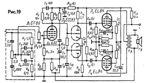 Схема высококачественного УНЧ на лампах (10 Вт) .