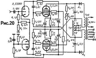 принципиальная схема лампового усилителя