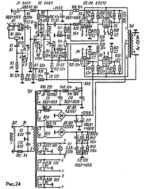 Файл Схема лампового усилителя на лампе 6Ф5П.