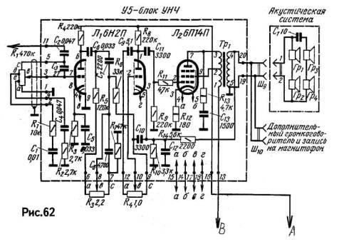 Схема лампового УНЧ радиолы Ригонда на 6Н2П, 6П14П.